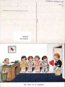 450685,Künstler AK Willi Scheuermann John Wills Herz zu vergeben Kinder Amor Engel