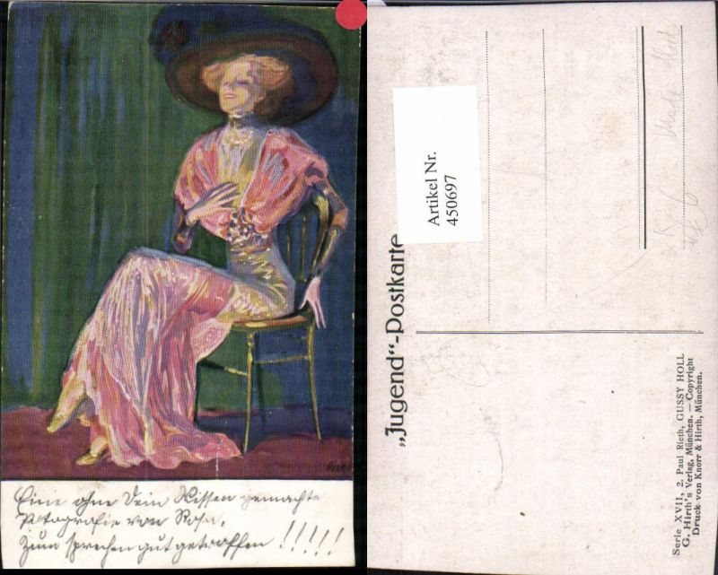 450697,Künstler AK Paul Rieth Gussy Holl Hut Kleid Mode Stuhl pub Jugendkarte G. Hirth