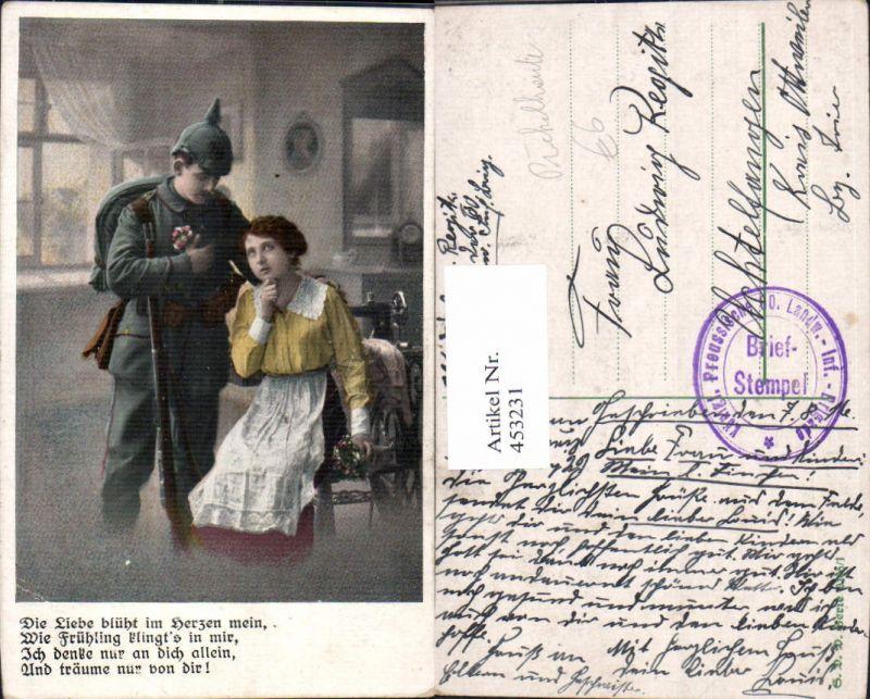 453231,WW1 Soldat Pickelhaube Frau Liebe Text Patriotik Propaganda