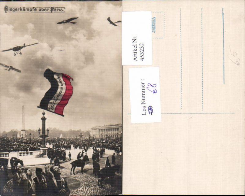 453232,WW1 Fliegerkämpfe über Paris Fahne Wir kommen wieder Patriotik Propaganda