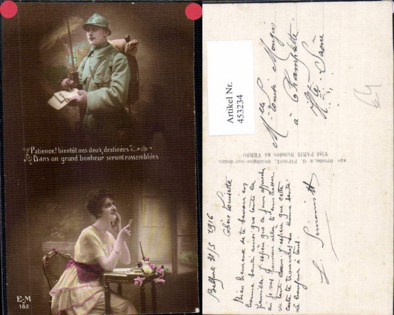 453234,Fotomontage WW1 Frau Foto Brief Soldat Bajonett Patriotik Propaganda