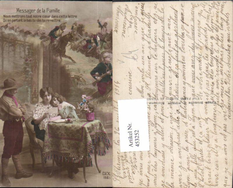 453252,WW1 Messager de la Famille Frau Kinder Soldaten Patriotik Propaganda pub DIX 192/1