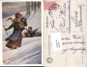 450755,Deutscher Schulverein 1105 Künstler R. Konopa Frau Mutter Kind Tannen