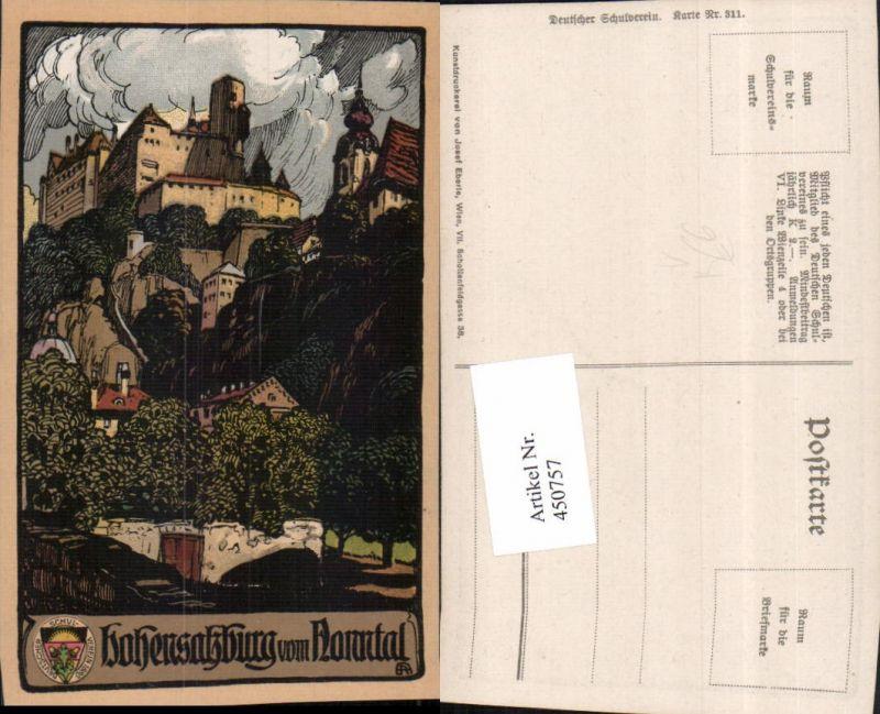 450757,Deutscher Schulverein 311 Künstler A. Reckziegel Festung Hohensalzburg