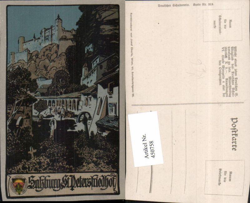 450758,Deutscher Schulverein 312 Künstler A. Reckziegel Salzburg Petersfriedhof Festung