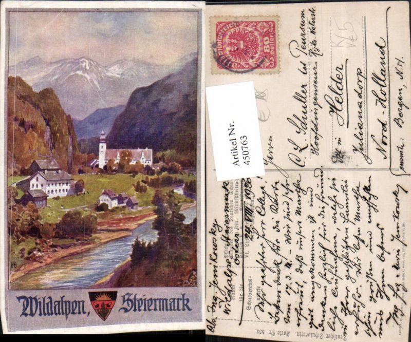450763,Deutscher Schulverein 553 Künstler A. Reckziegel Wildalpen Totale Bergkulisse