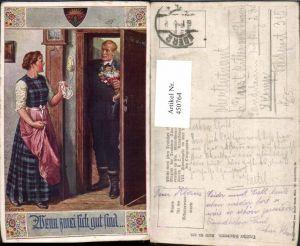 450764,Deutscher Schulverein 829 Künstler F. Kuderna Liebe Paar Tür Blumenstrauß
