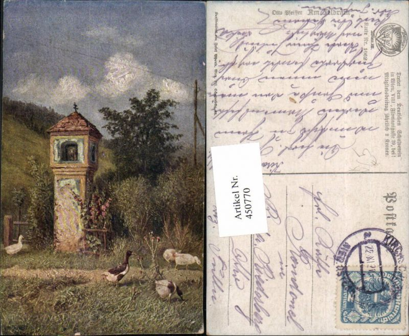 450770,Deutscher Schulverein 1062 Künstler Otto Pfeiffer Feldrain Enten Bildstock