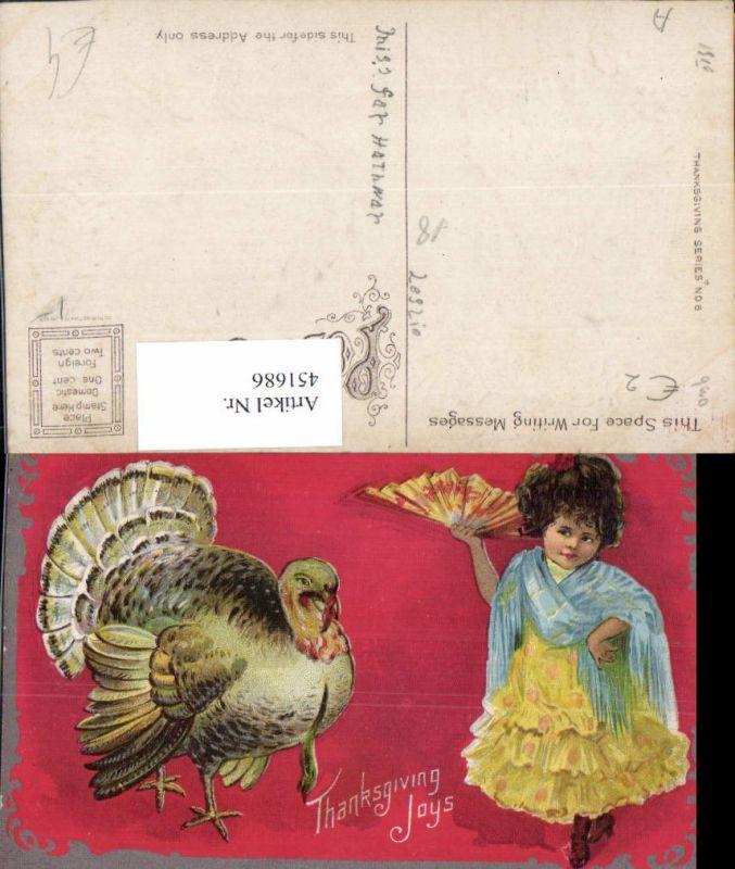 451686,Künstler AK Thanksgiving Erntedank Truthahn Mädchen Fächer