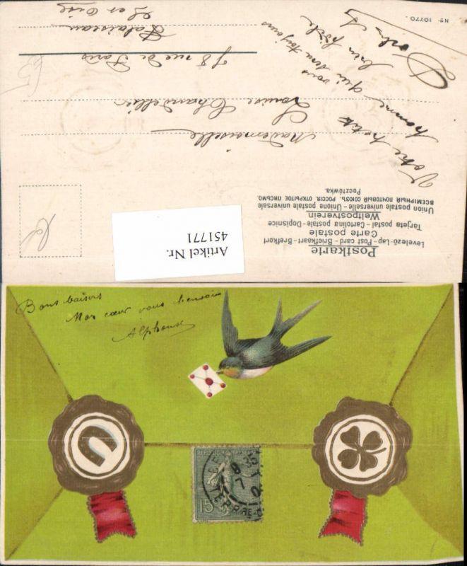 451771,Präge Künstler AK Schwalbe Vogel Brief Hufeisen Klee Siegel