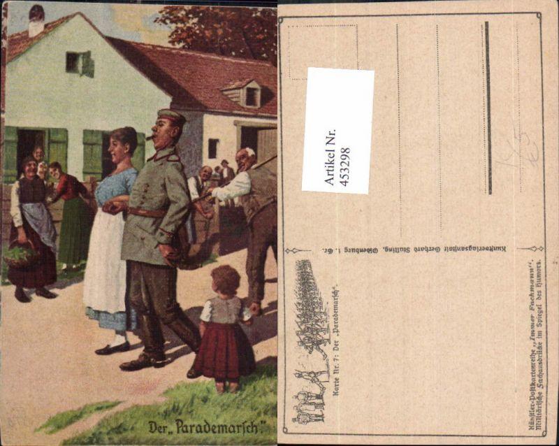 453298,Künstler Ak WW1 Der Parademarsch Soldat m. Frau Patriotik Propaganda