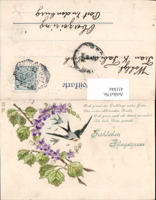 451844,Präge Künstler Litho Pfingsten Blumen Haselnusszweig Schwalben