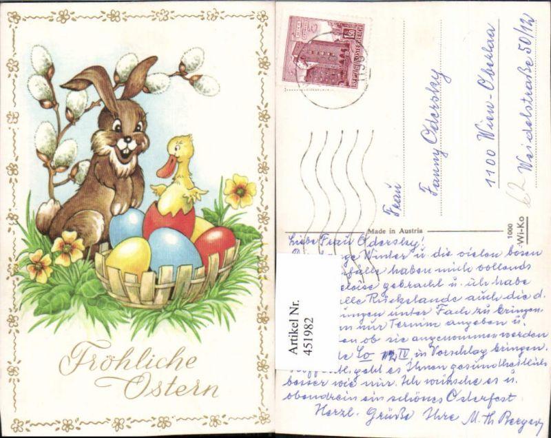 451982,Künstler AK Ostern Osterhase Hase Ostereier Küken Ente Palmkätzchen