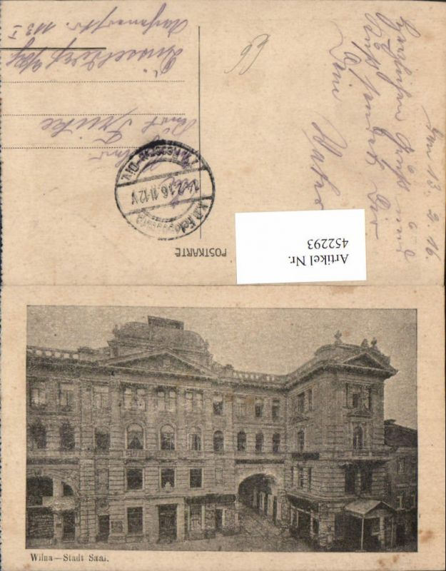 452293,Lithuania Wilna Stadtsaal Gebäude