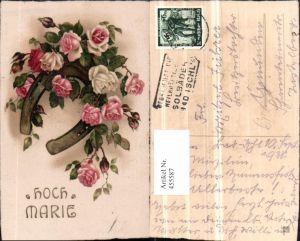 455587,Künstler AK Namenstag Hoch Marie Rosen Hufeisen