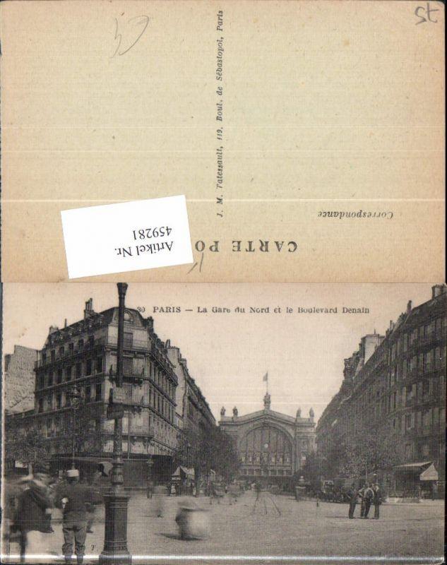 459281,Ile-de France Paris La Gare du Nord et le Boulevard Denain Bahnhof