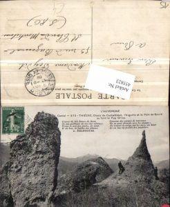 455823,Auvergne Cantal Thiezac Chaos de Casteltinet Felsen Bergkulisse