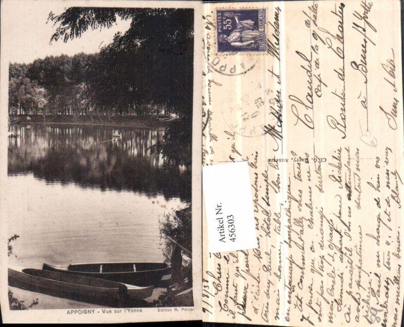 456303,Burgund Yonne Appoigny Vue sur l'Yonne Teich Boote