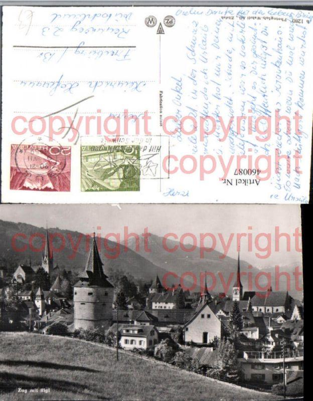 460087,Zug Teilansicht Kirchen m. Rigi Bergkulisse