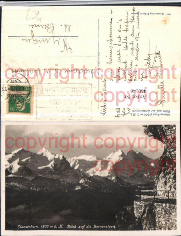 460146,Stanserhorn m. Berneralpen b. Stans Bergkulisse Kt Nidwalden