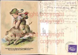 460637,Künstler AK Kind Tracht Schwein reiten Humor Spruch