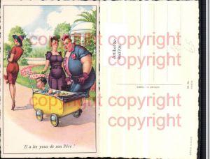 460796,Künstler AK Humor Völlerei Übergewicht Kinderwagen