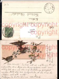 463351,Glitzer Künstler AK Vögel Blütenzweig Blüten