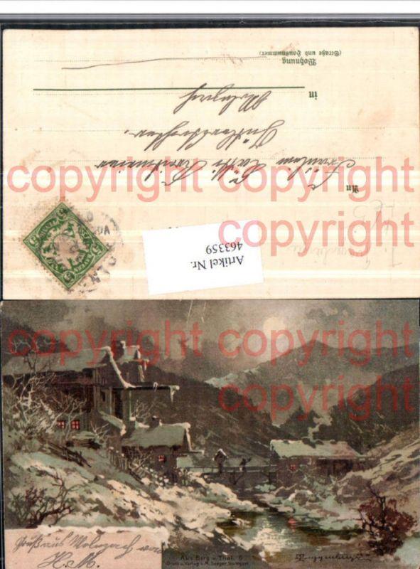 463359,Künstler Litho T. Guggenberger Berg u. Tal Landschaft Mondschein