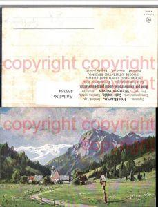 463364,Künstler AK Splitgerber jr. Landschaft Dorf Wegkreuz Bergkulisse