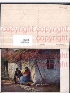 463379,Künstler AK H. Barth Brand Herbst Paar Haus Motiv