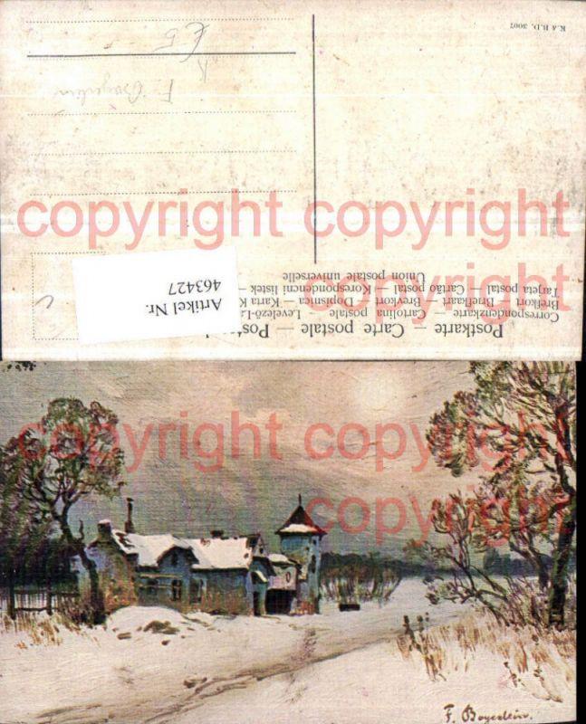 463427,Künstler AK F. Bayerlein Winterlandschaft Haus
