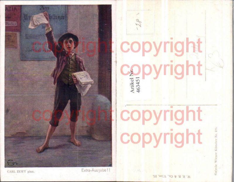 463451,Künstler AK Carl Zewy Extra-Ausgabe Zeitungsjunge Zeitung