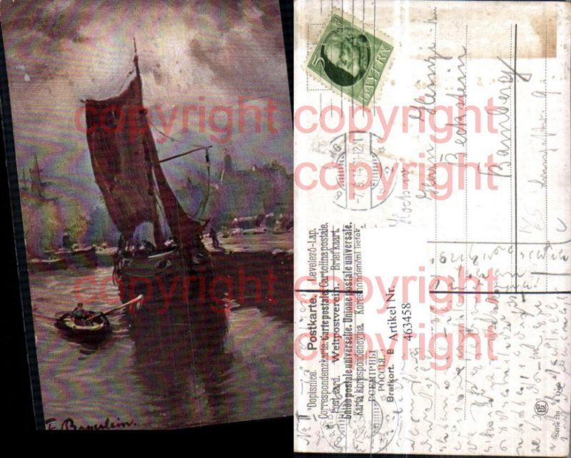 463458,Künstler AK F. Bayerlein Hafen Segelboot Boot