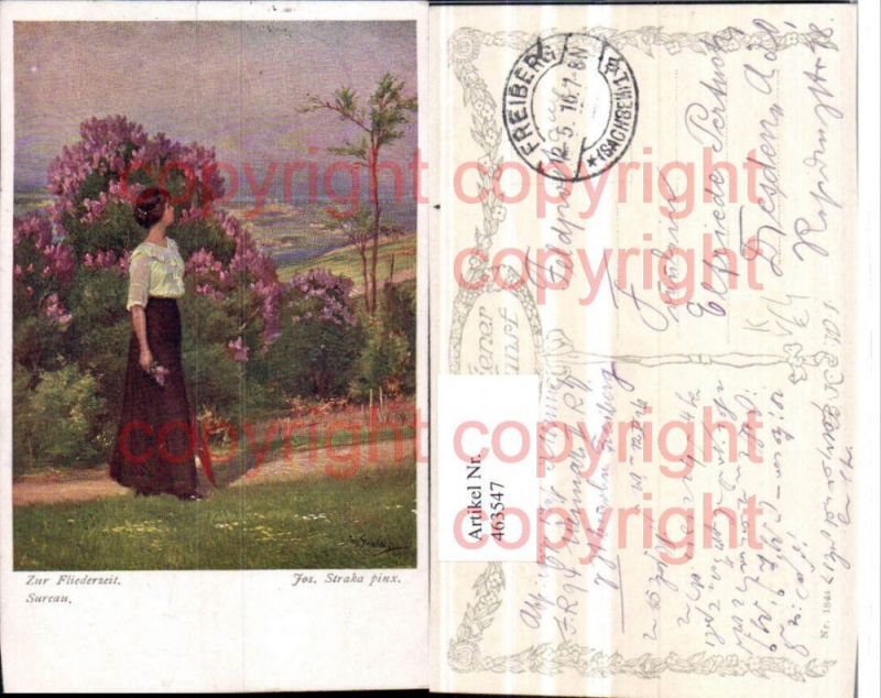 463547,Künstler AK Jos. Straka Zur Fliederzeit Sureau Frau pub B.K.W.I. 1844