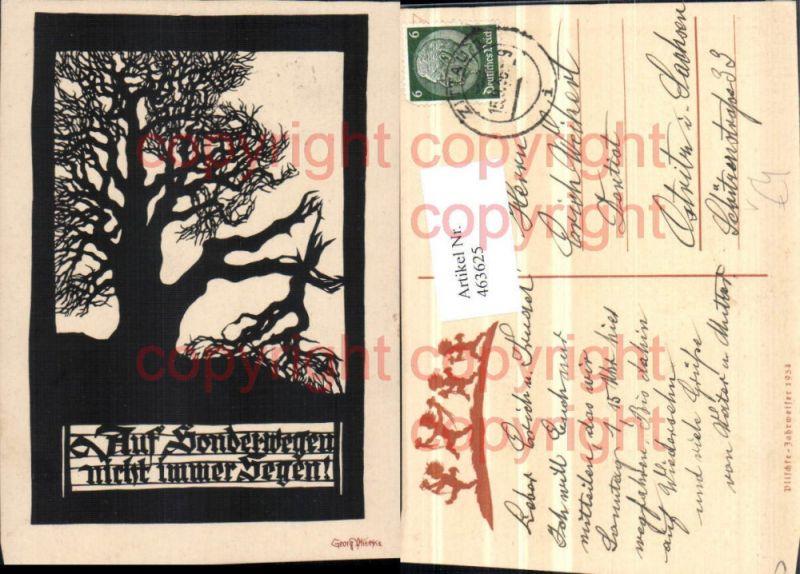 463625,Künstler AK Scherenschnitt Silhouette Georg Plischke Baum Spruch