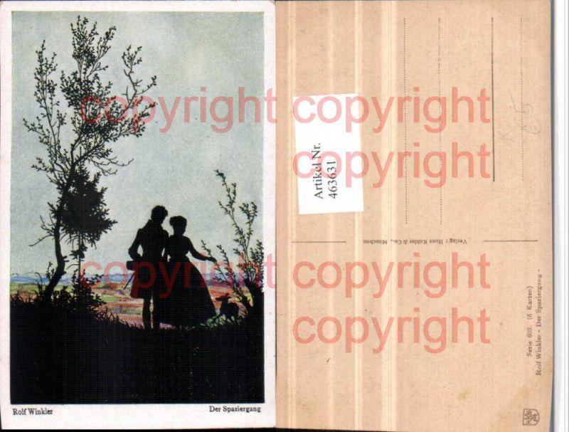463631,Künstler AK Scherenschnitt Silhouette Rolf Winkler Spaziergang Liebe Paar