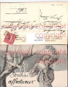 463643,Jugendstil Glitzer Künstler AK Frau Hut Muff Zwerg Hufeisen pub B.K.W.I. 2655/4