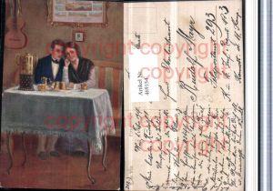 469154,Künstler AK R. De Witt Flitterwochen Liebe Paar Kuchen