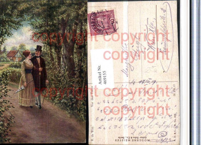 469155,Künstler AK R. De Witt Vor den Toren Liebe Paar Schirm