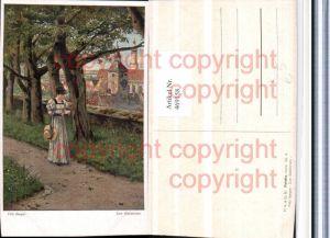 469158,Künstler AK Fritz Bergen Zum Stelldichein Frau Kleid Hut