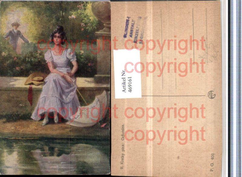 469161,Künstler AK R. Kratky Gefunden Frau Kleid Schirm Hut pub Kilophot