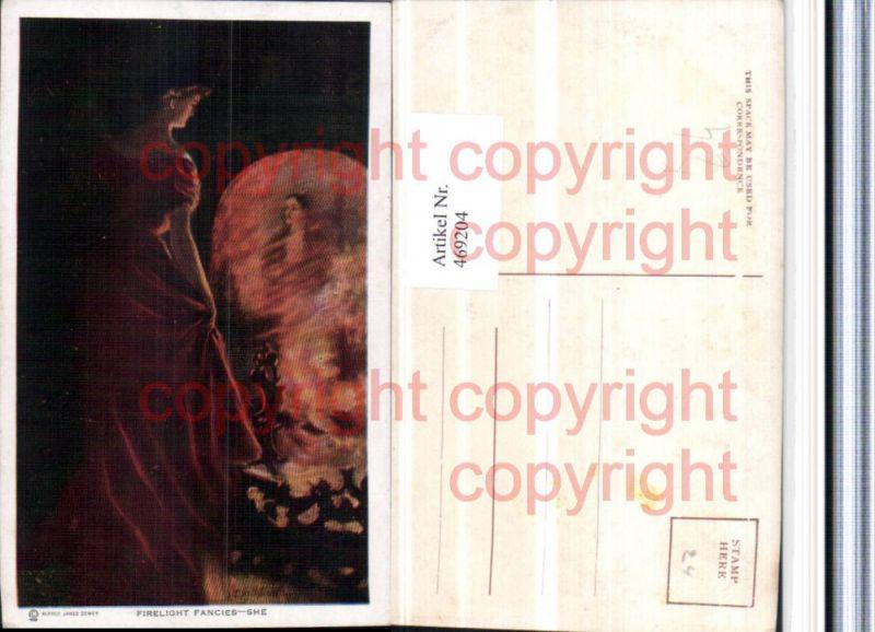 469204,Künstler AK Alfred James Dewey Firelight Fancies She Frau Kleid
