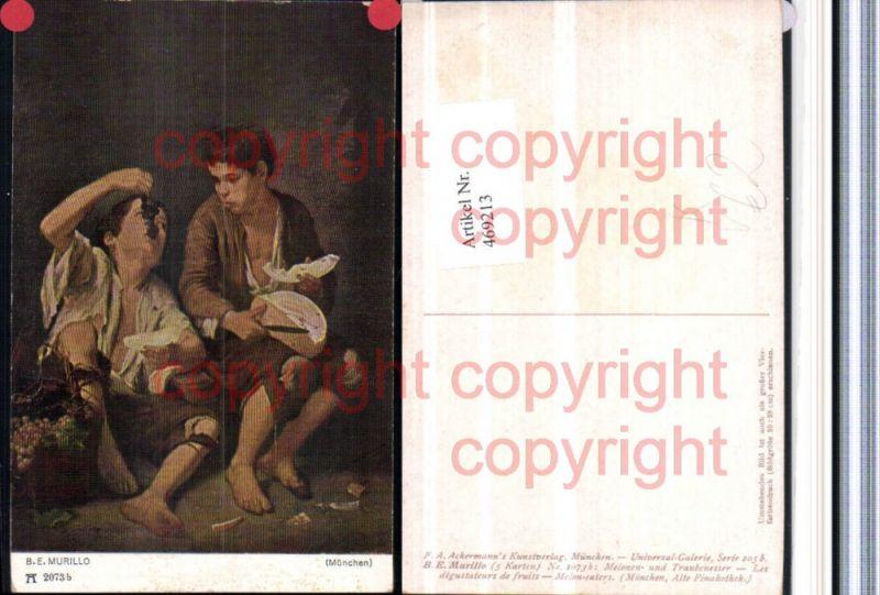 469213,Künstler AK B. E. Murillo Melonen u. Traubenesser pub Ackermann 2073b