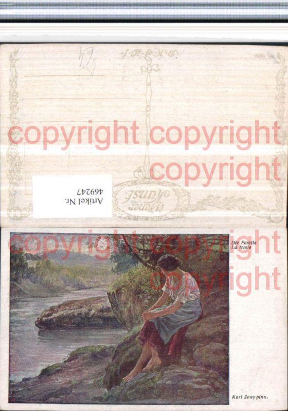 469247,Künstler AK Karl Zewy Die Forelle Frau Ufer Fluss pub B.K.W.I. 1589