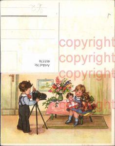 465570,Künstler Ak Kinder Puppe Hund Fotoapparat Kamera Fotograf