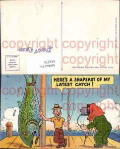 465575,Künstler Ak Angler m. Fisch Fotoapparat Kamera Fotograf Humor