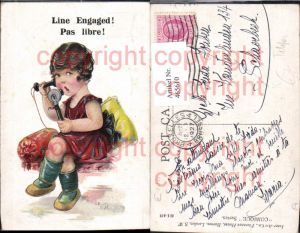 465610,Künstler Ak Mädchen m. Telefon Line Engaged Pas libre