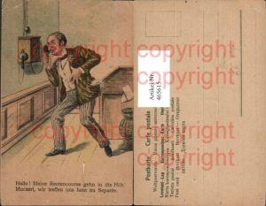 465615,Künstler Ak Mann a. Telefon Humor Spruch Text