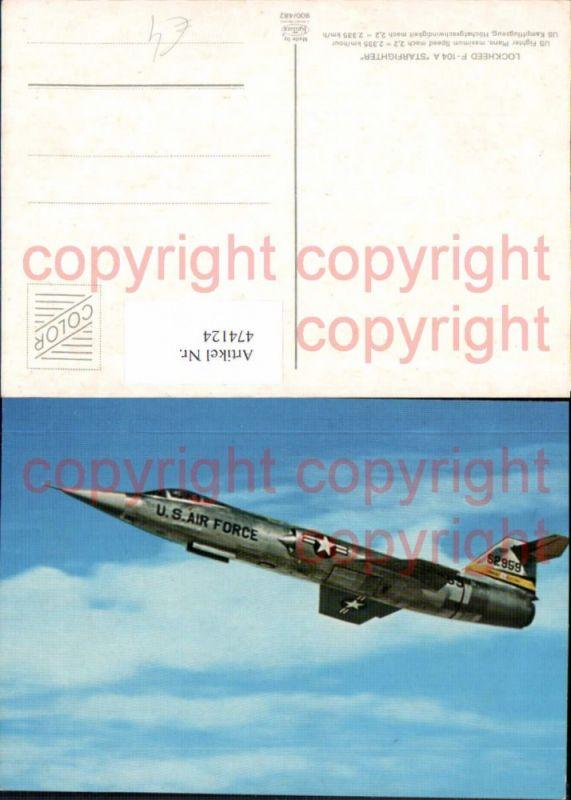474124,Flugzeug militärisch U.S. Air Force 529859 Lockheed F-104 A Starfighter Kampfjet