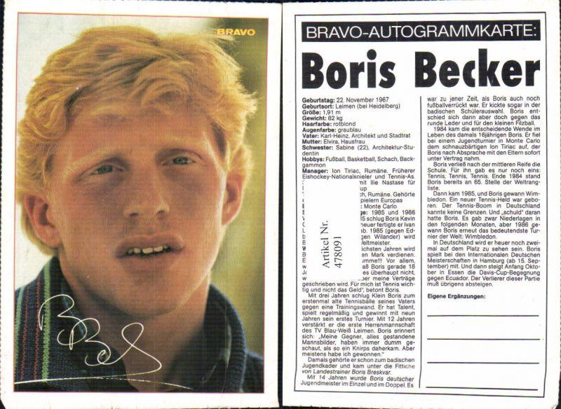 478091,Sportler Boris Becker Bravo-Autogrammkarte Tennis
